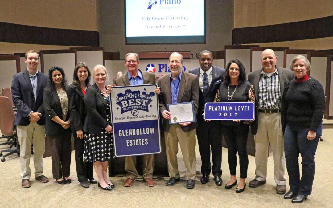 Glenhollow Estates Receives 2017 Platinum Level BEST Neighborhoods Award